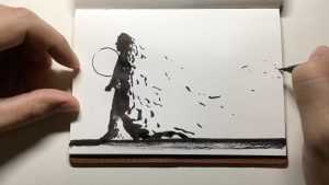 "Sketch representing song lyrics ""You carry your pocketful of sand"". Artist: Jun SungHyun"